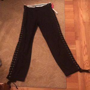 Black side laced up jogger pants